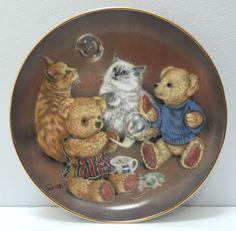 """Franklin Mint Bubble Buddies Teddy Bear Cat Kitten by Sue Willis Ed Plate 8""""   eBay"""