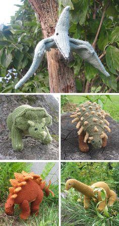 knitting patterns toys Knitting patterns for Dinosaur Toys - Knitting patterns for Pterodactyl, Triceratops, Anklyosaurus, Stegosaurus, and Apatosaurus plush softies contain phot Knitting For Kids, Loom Knitting, Free Knitting, Knitting Projects, Baby Knitting, Knitting Toys, Knitting Tutorials, Animal Knitting Patterns, Stuffed Animal Patterns