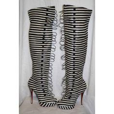 Christian Louboutin Black & White Striped Pony Hair Ronfifi Supra 140 Over The Knee Boots Size 40 - Christian Louboutin - Brands | Portero Luxury