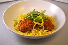 Quinoa & Bean Meatballs with Zucchini Pasta | small girl BIG plate #MeatlessMonday