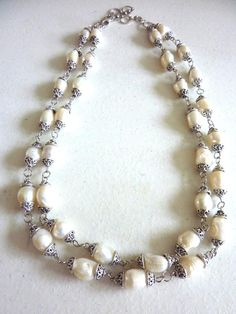 Items similar to Antique White Double Strand Freshwater Pearls Necklace on Etsy Teal Necklace, Gemstone Necklace, Beaded Necklace, Layered Necklace, Strand Necklace, Freshwater Pearl Necklaces, Pearl Jewelry, Jewelry Necklaces, Beaded Jewelry Patterns