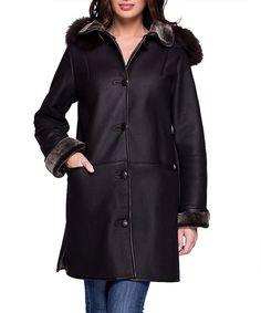 Donata brown leather button-up coat by JOHN & YOKO on secretsales.com