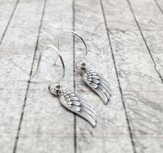 Wing Earrings Feather Sterling Silver Jewelry by GirlBurkeStudios, $32.00