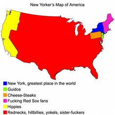 Us Map According To New Yorkers If You Noticed Theres