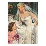 Uitnodiging bruidsmeisjes Vintage Bruid met het Meisje van de Bloem op Haar  Persoonlijke Aankondiging