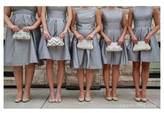 grey dresses and nude shoes for bridesmaids