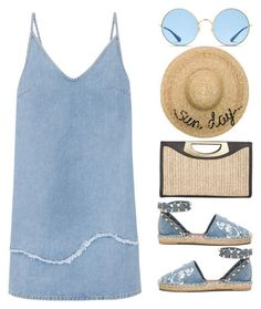 denim for a sunny day by smillafrilla ? liked on Polyvore featuring Valentino, M.i.h Jeans, Calvin Klein, Ray-Ban and Eugenia Kim