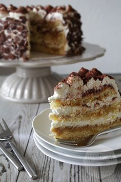 Tiramisu taart Gourmet Desserts, Cookie Desserts, Dessert Recipes, Italian Desserts, Baking Basics, Sweet Cooking, Decadent Cakes, Birthday Pies, Different Cakes
