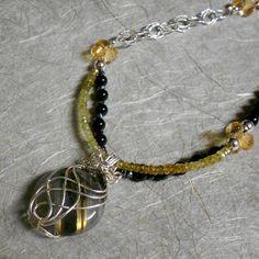 Labradorite Pendant Necklace, Black Onyx, Green Garnet, Citrine, Sterling Silver, 20 Inches, W002B-20, Blynn Pippen, Blynn Pippen Gallery