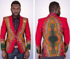 African/dashiki mens blazer/coat by on Etsy African Attire, African Wear, African Dress, African Suits, African Clothes, African Style, African Beauty, African Fabric, Dashiki For Men