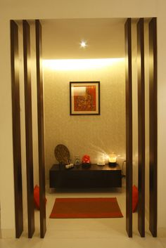 Idea for the look of Pooja room. Fits in with modern minimal look yet warm lighting and wood accents still keeps you grounded. Pooja Room Design, Door Design, Room Design, Pooja Rooms, Home N Decor, Room Doors, House Interior, Room Door Design, Pooja Room Door Design