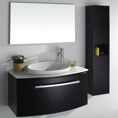 Best Bathroom Vanities In Various Design Styles. Modern Wall Mounted Black Bathroom Vanity Unit With Black Curved Front Large Storage Cabinet With Chromed Door Handle And Glossy White Countertop Plus Unique Oval Shape White Ceram Narrow Bathroom Vanities, Black Cabinets Bathroom, Black Vanity Bathroom, Bathroom Vanity Designs, Vanity Sink, White Bathroom, Small Vanity, Bathroom Shelves, Small Bathroom Ideas Uk