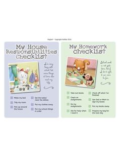 Includes 4 colorfully illustrated checklists for kids.My House Responsibilities ChecklistMy Homework checklistMy school checklistMaking friends checklist Homework Checklist, School Checklist, Kids Checklist, Kids Poster, Poster On, Free Activities For Kids, Information Age, I School, No Response