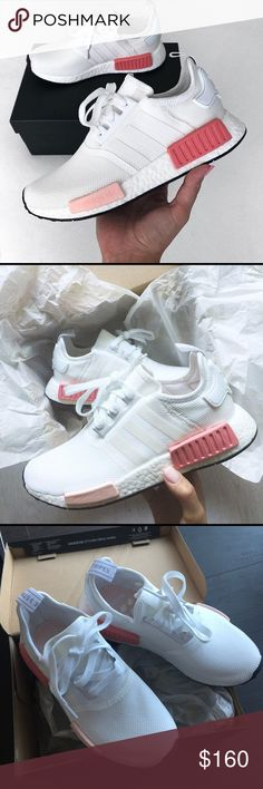 Adidas NMD_R1 shoes white w pink BY9952 RUNS HALF SIZE BIG FITS AS 6.5  A breakthrough in adidas Originals design, these women's shoes offer a full length boost™ midsole for continuous energy. A reflective tongue tab and 3-Stripes adorn the stretch-mesh upper for flashy details. Molded EVA plugs complete the NMD aesthetic. adidas Shoes Athletic Shoes
