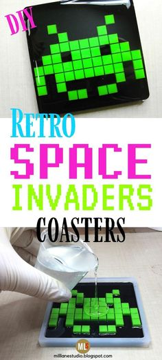 Woah, this is the perfect DIY project for anyone who loves retro arcade games! The Space Invaders alien makes such a fun coaster and it's made entirely of resin. You'll never guess what the common kitchen item is that's used to create the pixels. You've just got to see it to believe it! #MillLaneStudio #spaceinvadersdecor #howtomakearesincoaster #epoxycoasters #arcadegamescrafts #pixelcrafts #diyresincoaster