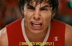 Zach Efron... sneezing...