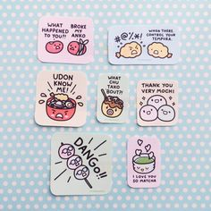 Set of all 7 delicious Japanese food pun stickers!  Sizes range from 1-2 inches in width. Hand-cut & packed to order Printed on matte sticker paper  - - - - -  Note: All artwork is by MIS0HAPPY and any listings outside of Storenvy have been used without permission. Always buy from original artists! Thank you!