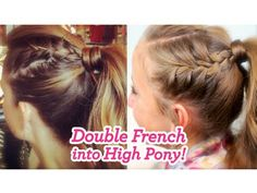 Double French into High Pony   Cute Girls Hairstyles - YouTube