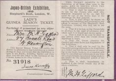 Lady's Season Ticket of the Japan (Japanese) British Exhibition 1910