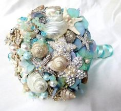 Sea Shell Wedding Bouquet, Tiffany Blue Bridal bouquet, Beach Bridal Bouquet, Brooch Bouquet.