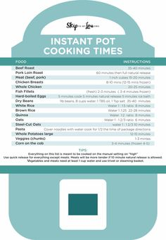 Free printable Instant Pot cooking time cheat sheet. Print and place in your cabinet for a handy reference guide for your pressure cooker.
