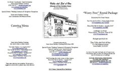 """Pamphlet link: http://www.sagardens.com/VDSDO/Villa_PamphletMAR2015.pdf. View Our 3 Pamphlets:(1) Santa Anita Gardens Catering menu, (2) The Villa del Sol d'Oro Reception Venue w/ catering infomation, & (3) Lindburgh's """"Worry Free"""" party rentals. When printing these tri-fold pamphlets, please use legal size (8 1/2"""" x 14"""") paper, and use both sides of the paper. #pasadenaweddings #villadelsoldoro"""