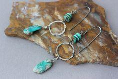 Long Turquoise Nugget Earrings, Bohemian Turquoise Dangle Earrings, Fox Mine Turquoise Earrings, Boho Earrings, Fine Silver, Sterling Patina