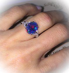 Natural Black Australian Opal Ring 18k by PristineCustomRings