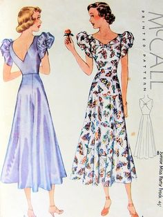 McCall 9335; ca. 1938; Junior and Miss Party Frock
