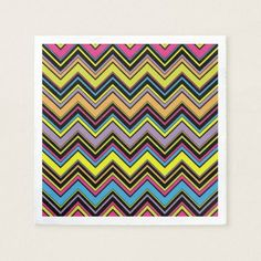 Zigzag Pattern Chevron Pattern - Green Blue Pink Paper Napkin  $44.30  by sitnica  - cyo customize personalize unique diy idea