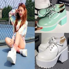 Women Chunky High Heel Harajuku Platform Round Toe Lace Up Japanese Lolita Shoes Punk Shoes, Shoes Heels, Pumps, Lolita Shoes, Chunky High Heels, Mid Calf Boots, Womens High Heels, Harajuku, Lace Up
