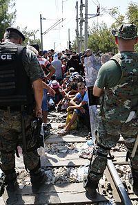 European migrant crisis - Migrants at the Greek–Macedonian border in Gevgelija, 24 August 2015