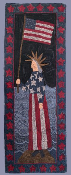 Lady Liberty hooked rug by Polly Minick