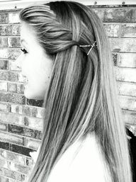 French fishtail. Prettiest way Ive ever seen bangs pulled back.