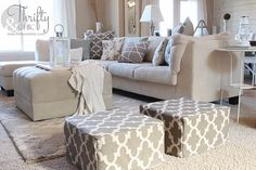 DIY Ottoman or floor pouf made from mattress cubes! Did you know you can get mattress samples? Who knew!