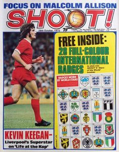 magazine in Oct 1972 featuring Kevin Keegan of Liverpool on the cover. Football Cards, Baseball Cards, Kevin Keegan, Magazine Front Cover, English Football League, Football Memorabilia, Yesterday And Today, Liverpool Fc, Booklet