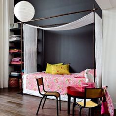 Girls Room.  Bamboo Canopy Bed.  Black Walls. Asian