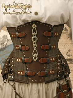 """26"""" waist  Steampunk UnderBust Explorer Corset Wool, Brass and Leather UNIQUE ONE OFF"""