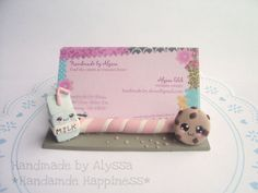 Milk 'n' Cookies business card Holder by HandmadebyAlyssa on Etsy, $15.00