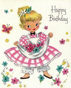 Vintage Hallmark 1950s Happy Birthday by poshtottydesignz on Etsy
