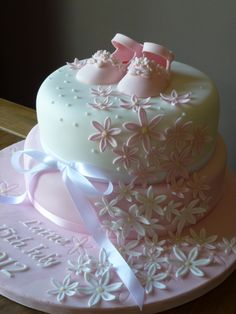 girl+baby+cakes | Girls Baby Pink Shoes Christening Cake