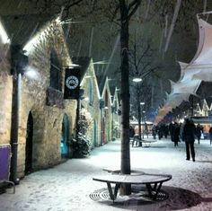 Snow in the Bercy Village, Paris. This is where we will be staying this December!