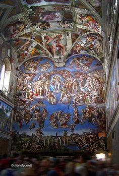 The Last Judgment - Mural de Michaelangelo pintado en la Capilla Sixtina. Ciudad del Vaticano
