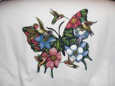 FLOWER BUTTERFLY AND HUMMING BIRD White Tee Shirt New Without Tags #JERZEES #GraphicTee