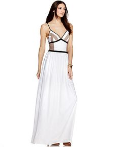 Hmmm, maybe for a wedding - BCBGeneration Dress, Sleeveless V Neck Geometric Colorblocked A Line Maxi - Womens Dresses - Macy's