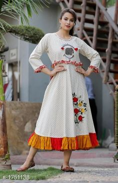 Aaryahi Versatile Partywear Kurtis Fabric: Cotton / Fancy Canvas/ Rayon / Rayon Slub Sleeves: Sleeves Are Included Size: Variable (. Ladies Frock Design, Easy Hairstyle Video, Silk Kurti Designs, Suit Pattern, Cotton Silk, Daily Fashion, Designer Dresses, High Waisted Skirt, Style Inspiration