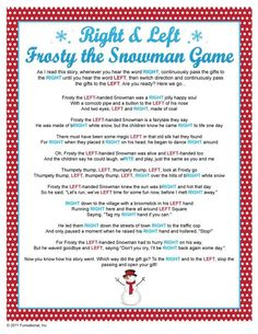 Right & Left Frosty the Snowman Game