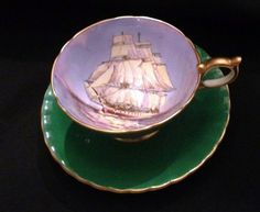 Emerald Green AYNSLEY Clipper Ship Cup and Saucer. Perfect for Bingley's Teas, The Captain tea
