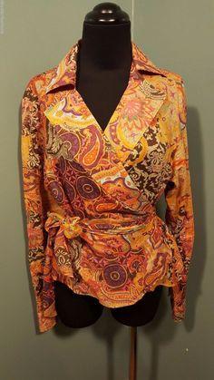 Lauren Ralph Lauren Multi Paisley Floral Long Sleeve Cotton Wrap Tie Blouse L  #LaurenRalphLauren #Wrap #DressCareer #daystarfashions $24 FREE SHIP