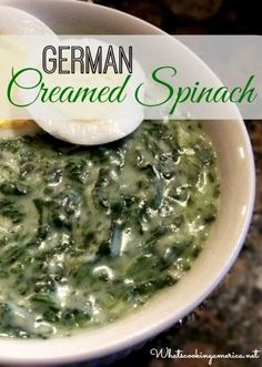 Creamed Spinach Recipe German Creamed Spinach - better than steak house! Side Recipes, New Recipes, Cooking Recipes, German Recipes, Austrian Recipes, Hungarian Recipes, French Recipes, Spinach Recipes, Vegetable Recipes